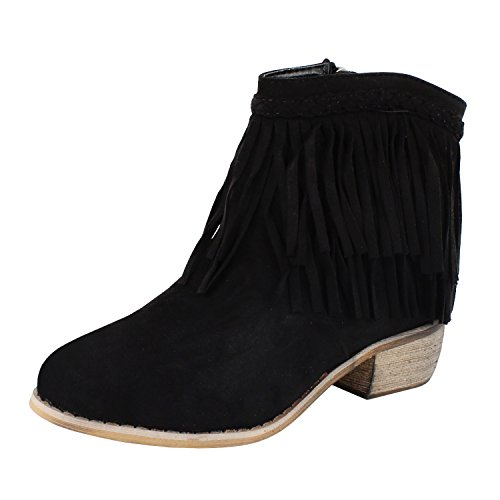 Suede Fringes Ankle Boots (Black) - 8