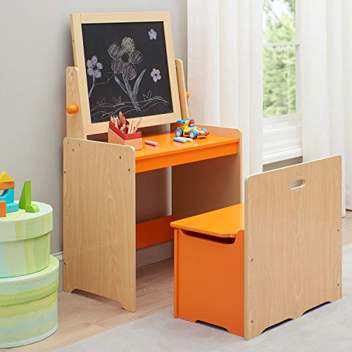 Delightful and Cute Kids Art Desk and Chair with Wooden Activity Easel,Storage Bench for Books,Arts and Crafts Supplies,Toys and Games,Orange,Ideal for Classrooms,Kids Room