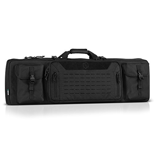 Savior Equipment Urban Warfare Tactical Double Carbine Long Rifle Bag Gun Case Firearm Backpack w/Pistol Handgun Case - 42 Inch Obsidian Black ()