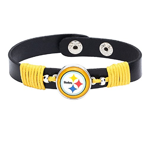 Premium Leather Adjustable Pittsburgh Steelers Bracele ()