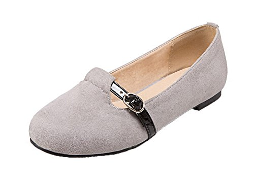 No Toe Frosted Zapatos Gris Pull Solid Round Heel On VogueZone009 Bombas mujer para PIEqx0fI