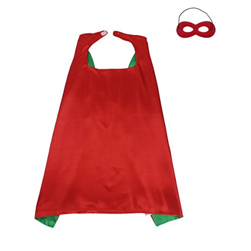 [70cmX70cm Special Satin Boys&Girls Superhero Cape+Mask Any Color Double-sided (Red-green)] (Superhero Cape Kids)
