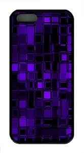 Purple glass cubes TPU Hard Plastic Case for iPhone 5/5S - Black