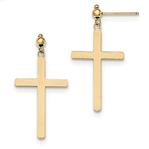 14K Yellow Gold Cross Dangle Post Earrings