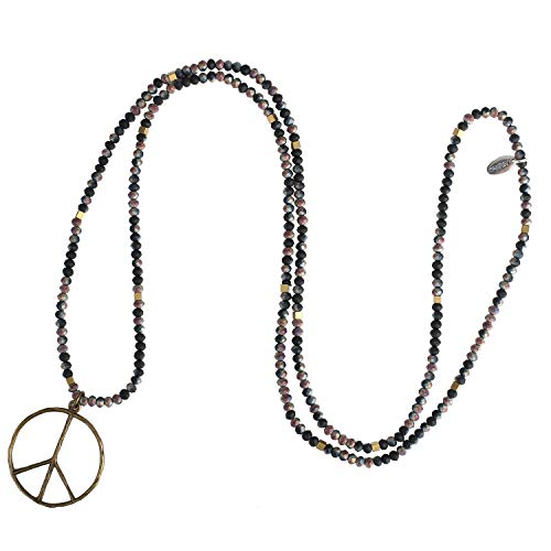 KELITCH Classic Peace Sign Love Hippie Pendant on Frosted Crystal Beaded Necklace (Colorful T)
