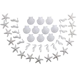 LJY 40 Pieces White Resin Pencil Finger Starfish Seahorse & Seashells Set for Wedding Home Decor and Craft Project