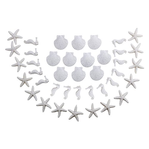 LJY 40 Pieces White Resin Pencil Finger Starfish Seahorse &