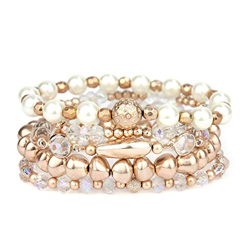 POMINA Multi Strand Beaded Nugget Matte Pearl Crystal Stretch Bracelet for Woman, Set of 5 (Worn Rose Gold)