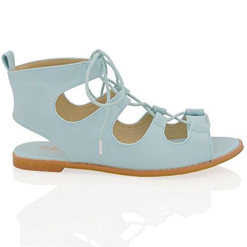Flat Para Out mujer las de Gladiator cuero del sintético señoras Cut tobillo sandalias de Toe cordones de azul con pálido zapatos verano Peep r5xrwfIqd