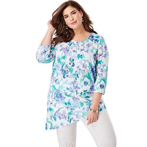 - Jessica London Women's Plus Size Asymmetrical Linen Tunic - White Blossom Floral, 22/24
