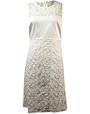 Calvin Klein Women's Floral Organza Cotton Blend Dress