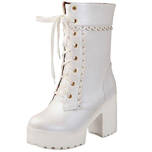 COOLCEPT Moda Cordones Plataforma Botas Chunky Heel Zapatos para Mujer White