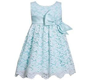 Bonnie Jean Aqua Lace Easter Dress for Toddler Girls
