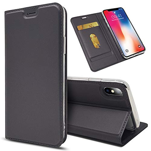 NALIA Flip Case Compatible with iPhone X Xs, Ultra-Thin Phone Cover Magnetic Leather Back Front Protector Skin Kickstand Slim Protective Bookcase Shockproof Full-Body Etui, Color:Black Grey