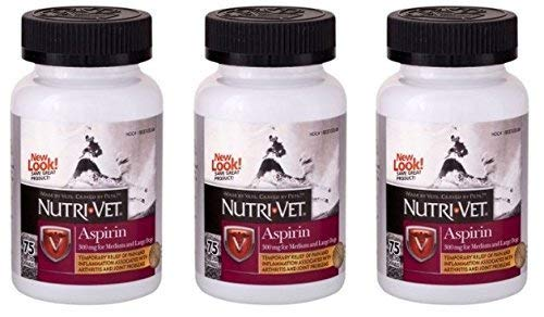 Nutri-Vet® K-9 Aspirin 300mg Chewables for Large Dogs, 75ct Bottles, Safety Sealed (3 Pack) ()