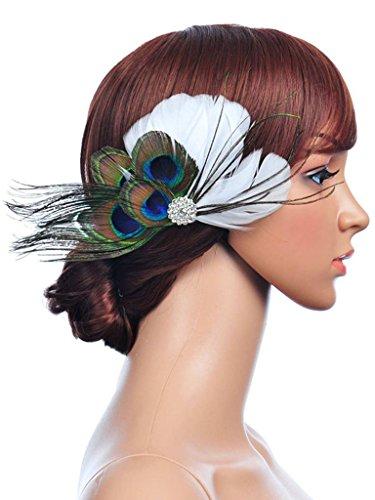 Jelinda Damen Peacock und Weiße Feder Haar Blume mit Strass Hochzeit Fascinator Haarspange
