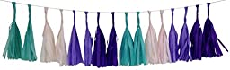 Just Artifacts Tissue Paper TASSEL GARLAND KIT (Enchanted) - 16 X Hanging Tassels - Tropical Oasis, Wild Aster, Purple, Royal Purple Color Combination. CLICK FOR MORE COLOR COMBINATIONS!