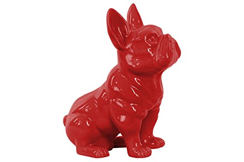 Urban Trends Ceramic Sitting French Bulldog Figurine with Pricked Ears Gloss Finish Red