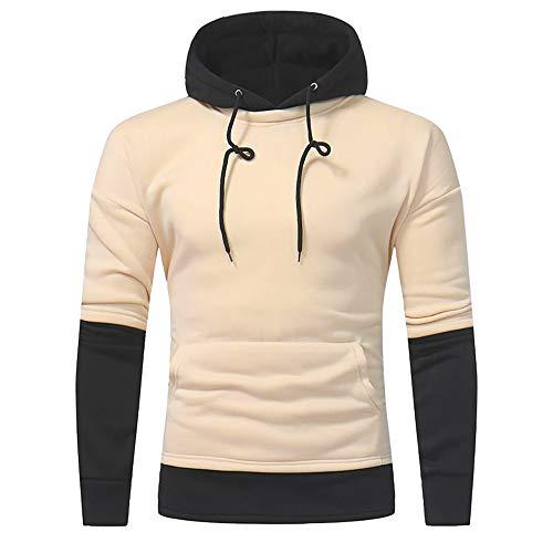 Toimothcn Mens Hoodie Long Sleeve Patchwork Hooded Sweatshirt Pullover Tops Outwear Slim Fit(Beige,3XL)