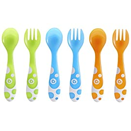 Munchkin 6 Piece Fork and Spoon Set 4 Set includes 3 toddler forks and 3 toddler spoons Colors include blue, green and orange Rounded fork tines and spoon for safe self feeding