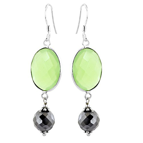 skyjewels Round 7 mm Black Diamond Sterling Silver Earrings with Oval Checker Chalcedony