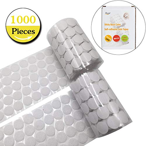 Tape Dots - 1000pcs adhesive (500 Pair Sets) 0.39in Diameter Sticky Back Coins Hook & Loop Self Adhesive Dots Tapes,10mm White