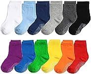 CHUNG Toddler Boys Girls 10 Pack Athletic Cotton Basic Crew Socks Anti Slip Autumn School Uniform Casual Sport