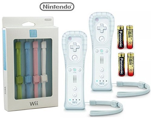 (WiiU 5 Strap Color Pack Set and (2) White Controllers Bundle (Renewed))