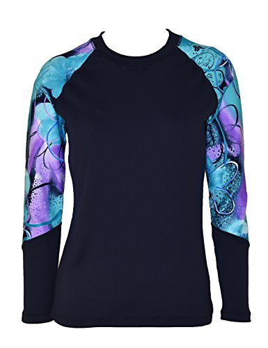 Private Island Hawaii Women UV Wetsuits Long Raglan Sleeve Rash Guard Top (XXX-Large, Navy with Jade Violet)