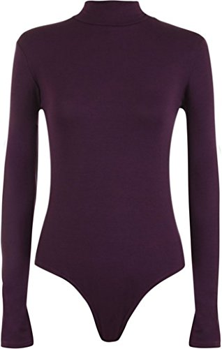 Fashion Essentials-Damen Rollkragenpullover Rollkragen Body Elastic Leotard Top (36-38, PURPLE)