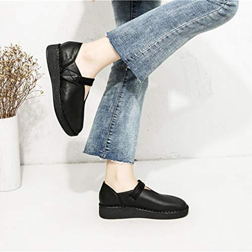 Mocasines Maternidad Parte De 2019 Nuevos Inferior Yan Oxford ons 39 Caminar black Cuero casual Zapatos Mujer Slip Y Para Suave wqw6gx