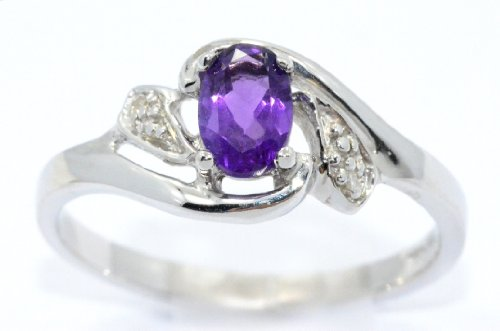 Elizabeth Jewelry Created Alexandrite Diamond Oval Ring .925 Sterling Silver Rhodium Finish