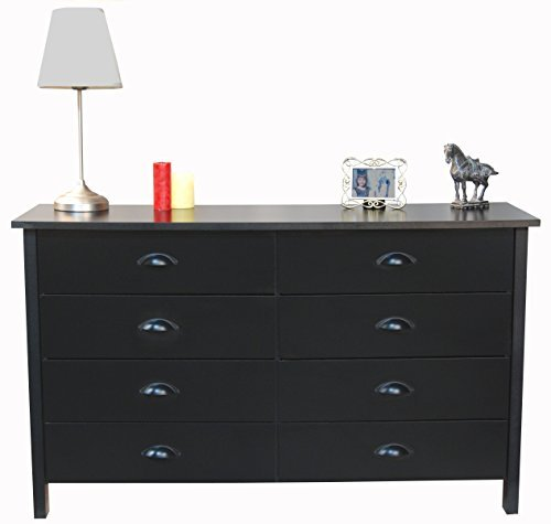 Black Chest Finish Drawer (Venture Horizon 8 Drawer Nouvelle Dresser Black)