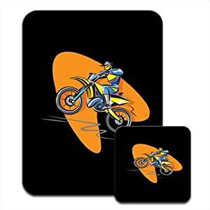 Motocross Racer Riding a Motorcycle Premium Mousematt & Coaster Set by ruishername