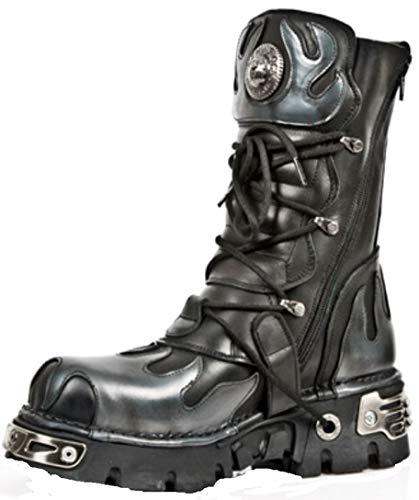 s2 Biker Argent Cuir Flamme New M Rock Noir Boots Boot Métallisé 591 Goth qxOW1p