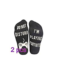 Do Not Disturb, I'm Playing 2 Pairs Ankle Sock Novelty Stocking for Men Kids Boys Great Gift for Game Lovers