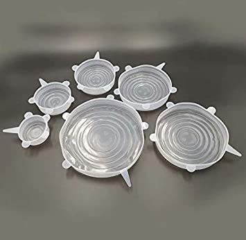 Aiming 6pcs Set Reutilizable Fresco Mantener Wrap Silicona Extender succi/ón Tapa-Bowl Cacerola Cubrir los Alimentos Cocinar la Cacerola Tapas de derrames