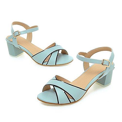 AalarDom Femme Talon à Bleu Sandales Ouverture TSFLG005536 d'orteil Boucle Correct 77Zrq6wBx