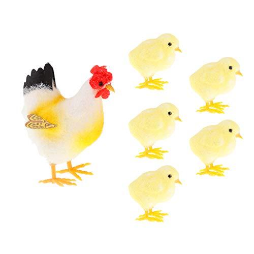 SM SunniMix Foam Flocking Artificial Animals Standing Chicks and Hens Ornament Outdoor Garden Decor