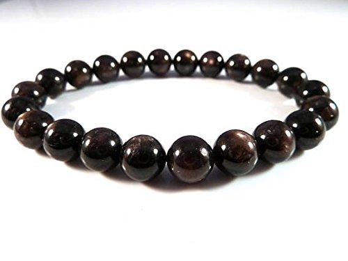 - JP_Beads Black Star Sapphire Stretch Bracelet 10mm Smooth Round Gemstone Beads Gold Filled Filled Gold Filled Filleden Flash Large Big Chunky Rare