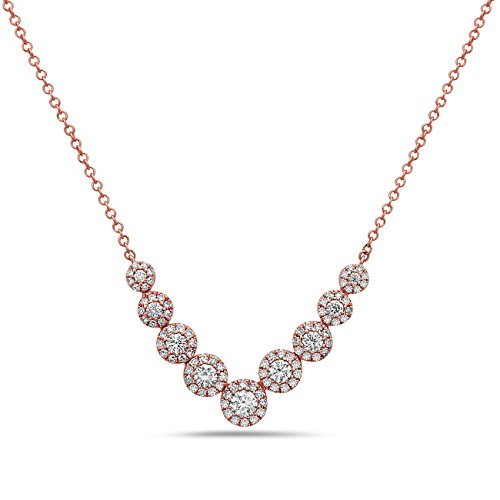 0.56 Ct Tw Diamond (14K Rose Gold Pave and Round Diamonds Necklace | Elegant 14K Round Diamond Centers | Diamond Weight 0.56ct tw | Color G/H Clarity-SI1 | HARMONY by Crush + Fancy)