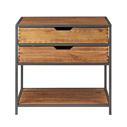 Modern Rustic Industrial Acacia Wood and Metal Entryway Chest Console Sofa Table For Sale