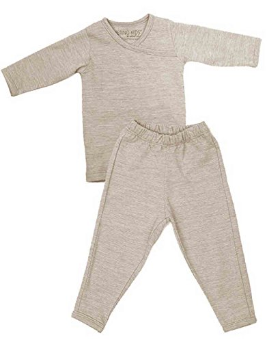 Merino Kids Long-Sleeve Thermal Set, Cream, for Babies 6-12 Months