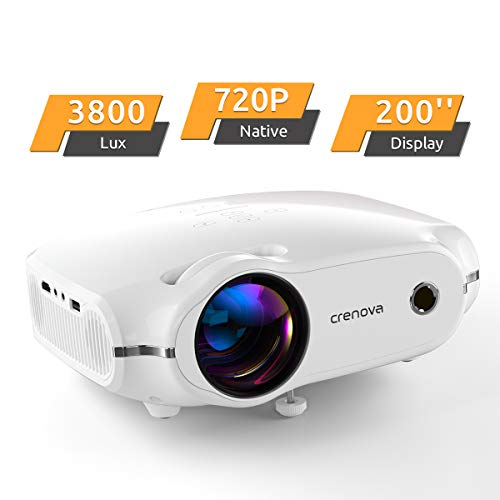 Crenova Mini Projector, Native 720P HD Video Projector, Upgraded 3800 Lux Portable Outdoor LED Home Movie Projector with 200″ Projection Size, Compatible with iPhone/iPad/TV/HDMI/VGA/AV/USB/TF SD Card