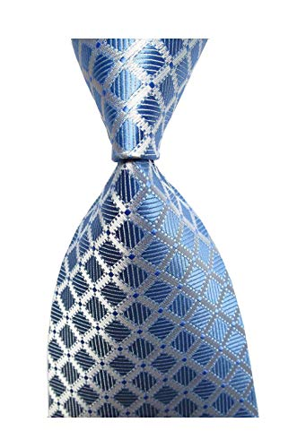 Secdtie Men's Classic Checks Light Blue White Jacquard Woven Silk Tie Necktie C26
