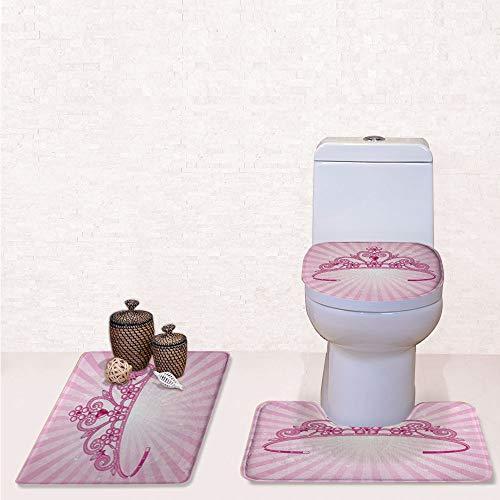 Comfort Flannel 3 Pcs Bath Rug Set,Contour Mat Toilet Seat Cover,Beautiful Pink Fairy Princess Costume Print Crown with Diamond Image Art Decorative with,Decorate Bathroom,Entrance Door,Kitchen,bedr