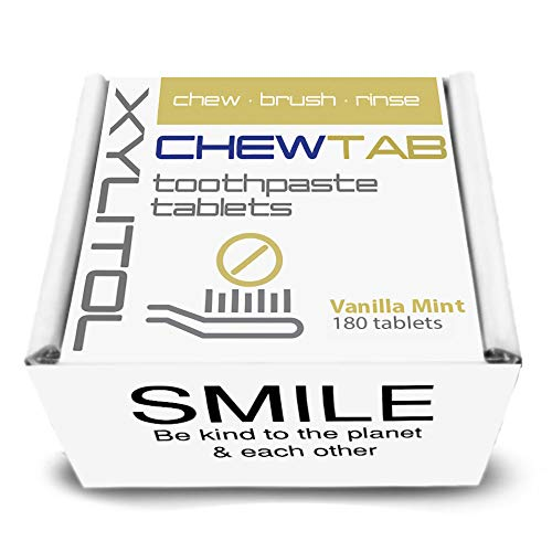 - Toothpaste Tablets, CHEWTAB Vanilla Mint with Xylitol, Zero Waste Refill, Eco Friendly by WELDENTAL (Vanilla Mint, 180 Tabs)