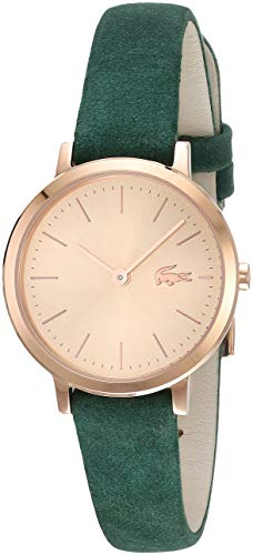 Lacoste Women's Moon Small Stainless Steel Quartz Watch with Leather Strap, Green, 12 (Model: 2001050) (Lacoste Watch Band)