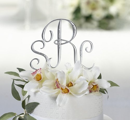 - 3PC Brushed Silver & RHINESTONE Monogram Letter Wedding Cake Topper Initial Set