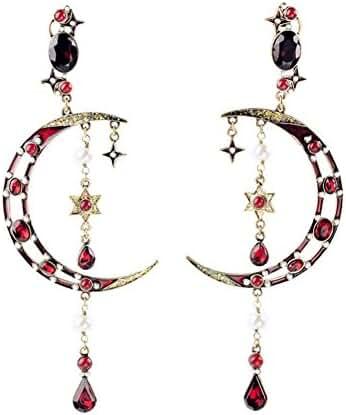 Crescent Moon Long Tassel Crystal Stud Earring 5.4 Inch Kaariag Punkin Jewelry
